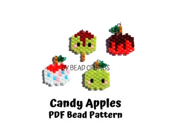 Brick Stitch Miniature Candy Apple Charms Bead PATTERN | Printable Digital Download