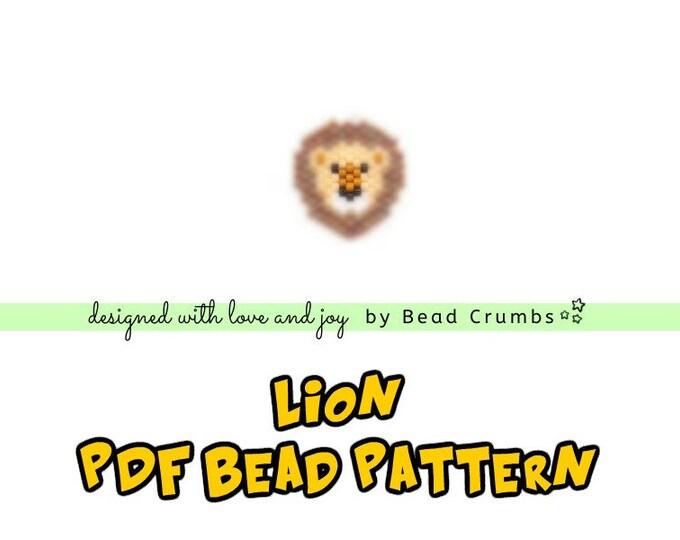 Lion Brick Stitch Bead Patterns, Miyuki Delica Seed Bead Animal, PDF Digital Download