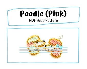 Poodle Beading PATTERN, DIY Animal Brick Stitch Charm, PDF Digital Download