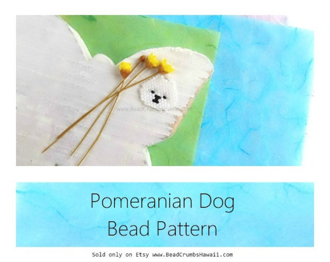 White Pomeranian Dog Seed Bead PATTERN, Brick Stitch | DIGITAL DOWNLOAD