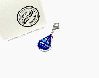 Sailboat Charm - for keyring, bag, progress keeper, stitch marker - nautical theme - Miyuki Delica seed beads, brick stitch