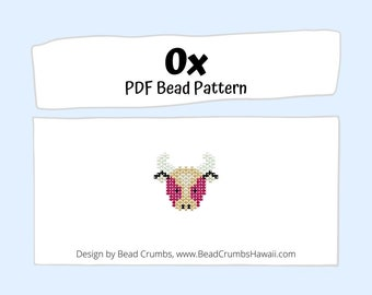 Beading PATTERN Brick Stitch Ox, Chinese Lunar New Year Animal Charm, PDF Digital Download