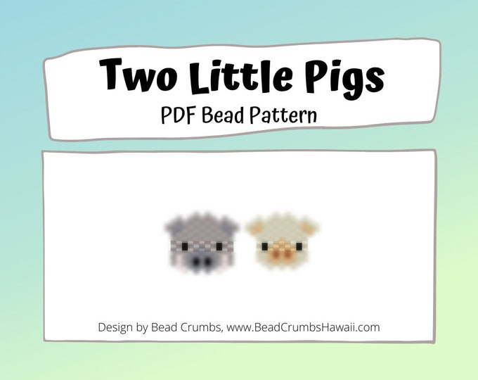 Two Little Pigs Bead Patterns, Boar and Sow Brick Stitch Beading, PDF Digital Download