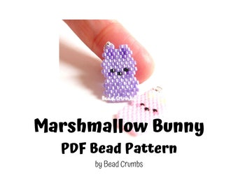 Marshmallow Easter Bunny, Easy Brick Stitch Bead Pattern, PDF Digital Download