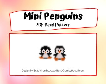 Bead Pattern Mini Penguin Set, Brick Stitch Seed Bead Charms - Digital File