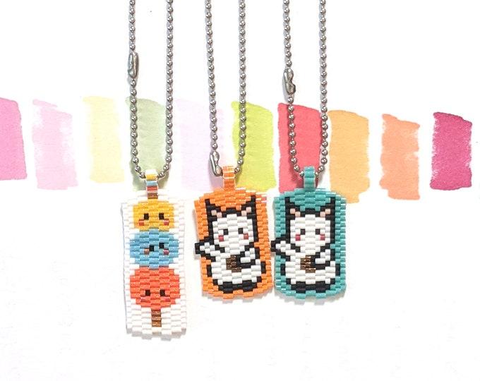 Kawaii Bag Charms (1 PC), Dango or Maneki Neko, Hand Stitched Miyuki Beads, Stainless Steel Ball Chain