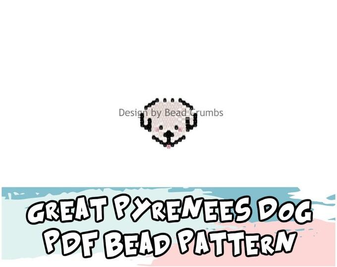 Pattern Great Pyrenees Dog, Brick Stitch Bead Pattern, PDF Download