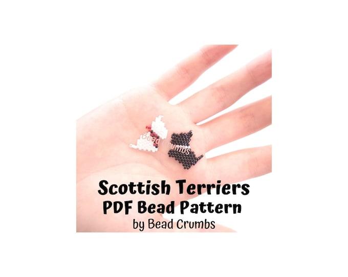 Scottish Terrier Dogs Brick/Peyote Stitch Bead PATTERN, Black and White Animals, DIY Craft Seed Bead Charm, PDF Digital Download