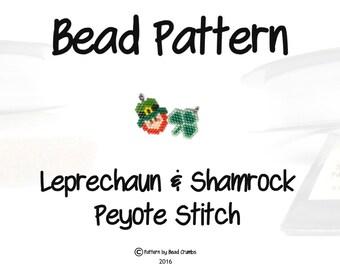 St Patricks Day Patterns, Leprechaun  & Shamrock Clover Charm, Peyote/Brick Stitch | DIGITAL DOWNLOAD