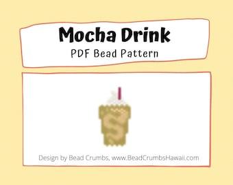 Mocha Coffee Drink Beading PATTERN - Brick or Peyote Stitch - PDF Digital File