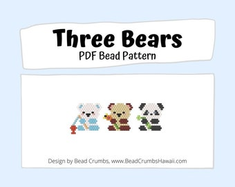 Brick Stitch Bead PATTERN, Three Bears, Panda Polar Teddy Bear,  PDF Digital Download