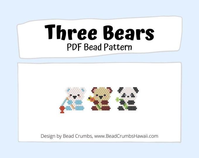 Brick Stitch Bead PATTERN, Three Bears, Panda Polar Teddy Bear,  PDF Digital Download