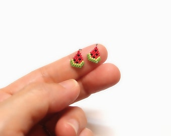 Micro Watermelon Seed Bead Charm (2 piece) with Optional Brick Stitch Pattern