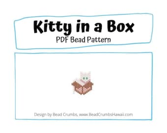 Brick Stitch Bead Pattern Kitty Cat in a Box, Earring Pendant Jewelry Charm, PDF Digital Download