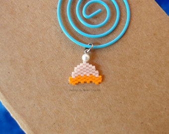 Beanie Hat Charms, Micro Hand Stitched Beads (1 Piece: Green or Orange)