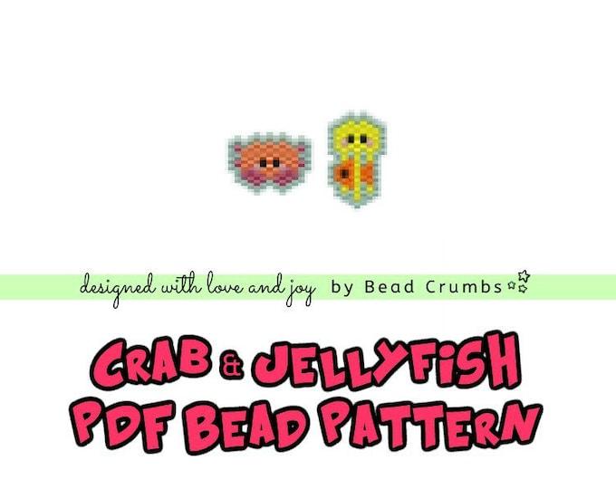 Crab and Jellyfish Beading Pattern, Miyuki Beads Brick Stitch Charm, PDF Digital Download