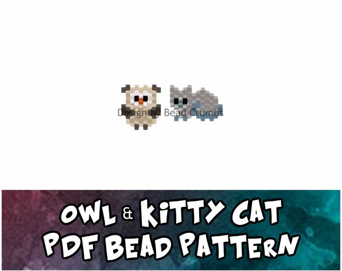 Owl and Kitty Cat Beading Pattern, Brick or Peyote Stitch Animal Charm, Digital File