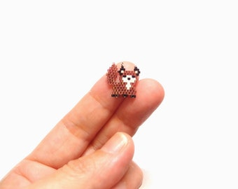 Micro Fox Seed Bead Charm with Optional Brick Stitch Pattern