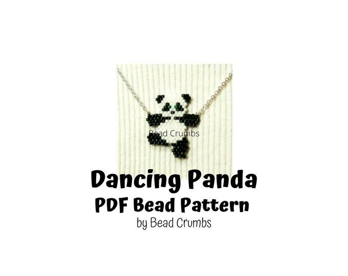 Dancing Panda Brick Stitch Bead Pattern, PDF Digital Download