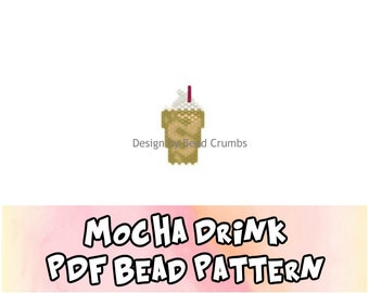 Mocha Coffee Drink Beading PATTERN - Brick or Peyote Stitch - PDF Digital File