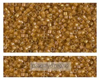 DB0272 Goldenrod / Color Lined Topaz, Miyuki Delica Beads, Size 11/0, Mini 1 Gram Bag