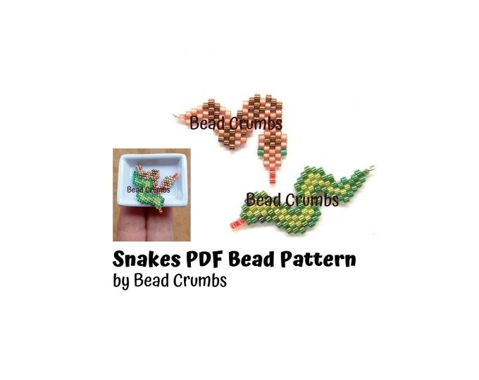 Snake Brick Stitch Bead Patterns, Miyuki Delica Seed Bead Animal, PDF Digital Download