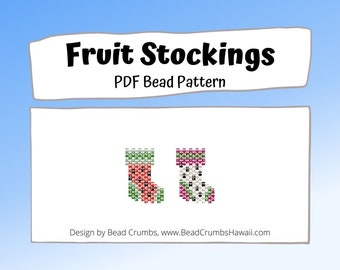 Bead Pattern Christmas Stocking, Brick Stitch Watermelon and Dragon Fruit Charms, PDF Digital Pattern