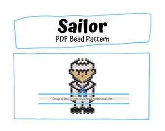 Sailor Bead PATTERN, Brick Stitch Peyote Stitch Charm, PDF Digital Download