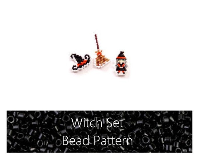 Brick Stitch Witch, Witch Hat & Broom, Bead Pattern Set | Printable Digital Download
