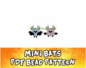 Mini Bats Brick or Peyote Stitch Bead Pattern, Digital Download