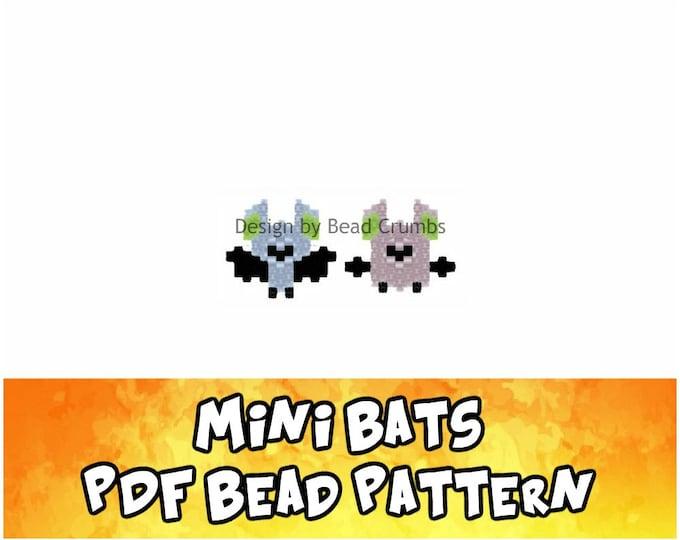 Mini Bats Brick or Peyote Stitch Bead Pattern, Digital Download