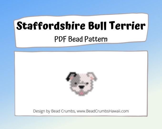 Staffordshire Bull Terrier Brick/Peyote Stitch Dog Bead PATTERN, DIY Craft Seed Bead Charm, PDF Digital Download