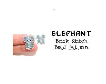 Elephant Seed Bead PATTERN - Beaded Charm, Brick Stitch Bead Weaving, Bead Crafts