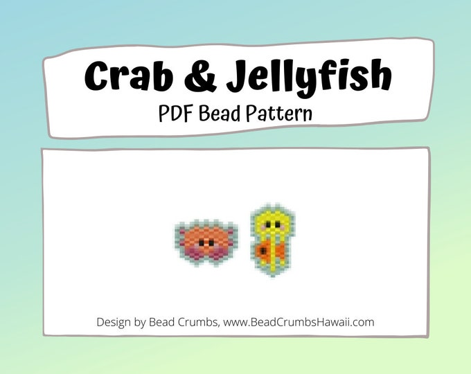 Crab and Jellyfish Beading Pattern, Miyuki Beads Brick Stitch Charm, PDF Digital Download