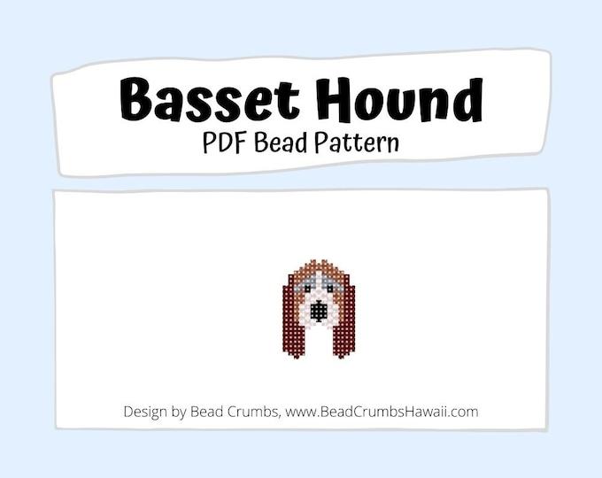 Brick Stitch Basset Hound Dog Bead PATTERN, DIY Beaded Charm Jewelry Accessory,  PDF Digital Download