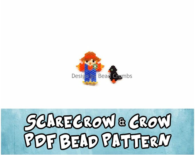 Scarecrow and Crow Charms, Brick Stitch Bead Patterns, PDF Digital Download