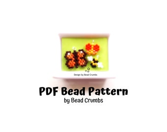 Miniature Butterflies and Bees Beading Pattern, Peyote/Brick Stitch Insect Charms, Digital Download