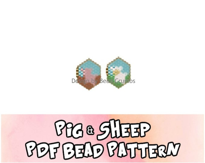 Brick Stitch Bead Patterns: Pig and Sheep Charms  PDF Digital Download