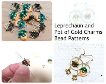 Mini Leprechaun & Pot of Gold Bead PATTERNS, St. Paddies Day Charms, Brick Stitch Bead Weaving