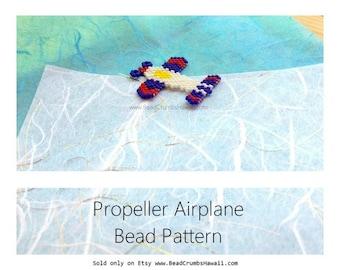 Propeller Airplane Brick Stitch Charm Bead Pattern