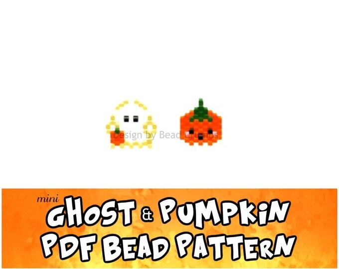 Mini Ghost and Pumpkin Halloween Brick Stitch Bead Pattern, Digital File