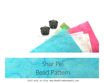 Shar Pei Dog Brick Stitch Charm Beading Pattern