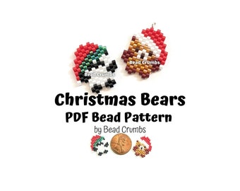 Christmas Bears Bead PATTERN, Cute DIY Brown Bear and Panda Brick Stitch Animal Charms, PDF Digital Download