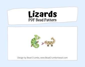 Beading PATTERN Brick Stitch Lizards, DIY Seed Bead Chameleon and Anole Lizard Charm, PDF Digital Download