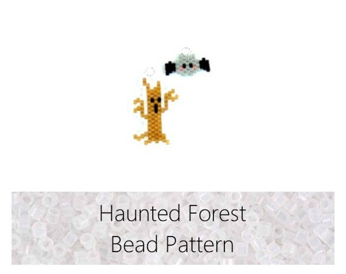 Brick Stitch Haunted Halloween Set: Mini Tree and Bat PATTERN, Miyuki Delica Beading | Digital Download