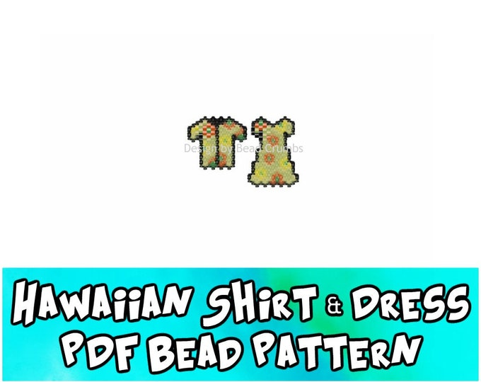 Hawaiian Shirt and Dress Peyote / Brick Stitch Bead Pattern, Seed Bead Charms, PDF Digital Download