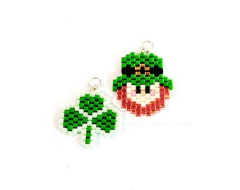 Leprechaun and Shamrock Charm Pendant, St Patricks Day Gift, Miyuki Brick Stitch Beading