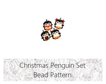 Christmas Penguin Set Brick Stitch Bead PATTERNS | Printable Digital Download