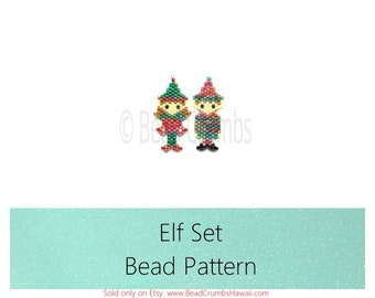 Brick Stitch Beading Patterns - Christmas Elf: Boy & Girl Elves - Miyuki Delica Seed Beads