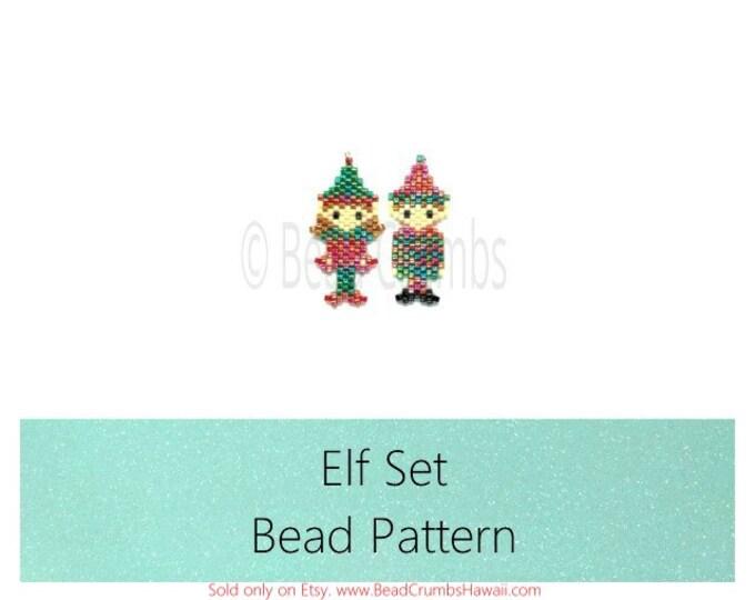 Brick Stitch Beading Patterns - Christmas Elf: Boy & Girl Elves - Miyuki Delica Seed Beads